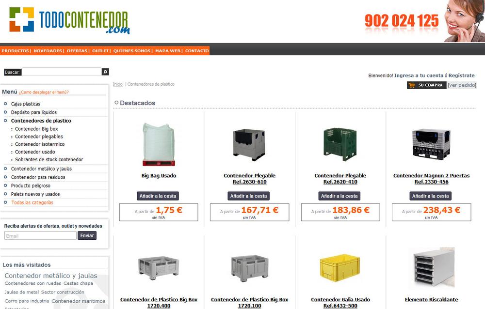 7bfd406d1454 Todocontenedor.com, se dedica a la venta de todo tipo de contenedores de  plástico y metal. Dispone de uno de los catálogos de productos de 4000  artículos, ...